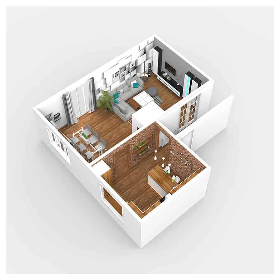 interior design rzut mieszkania wizualizacja